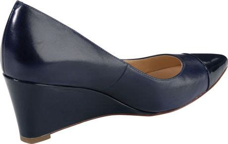 Blazer Wedges 3 cole haan chelsea mattepatent pointy toe wedge blazer blue in blue blazer blue lyst