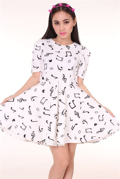 image of white music note dress cute clothes