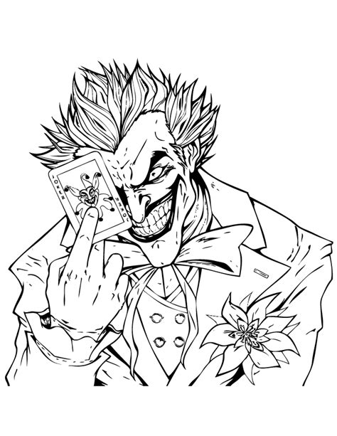 joker holding joker playing card coloring page h m