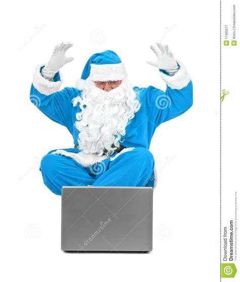 imagenes santa claus azul papai noel azul surpreendido imagem de stock imagem