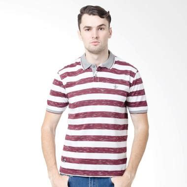 Kaos Polos Stripe Medium Maroon jual osella stripe shirt kaos polo pria burgundy