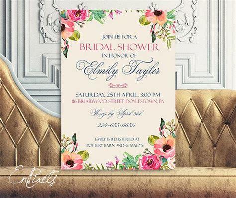 Postcard Wedding Shower Invitations by Printable Bridal Shower Invitation Vintage Floral