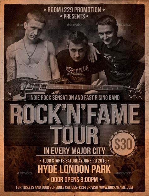 templates for band posters rock band flyer and ticket template by designroom1229