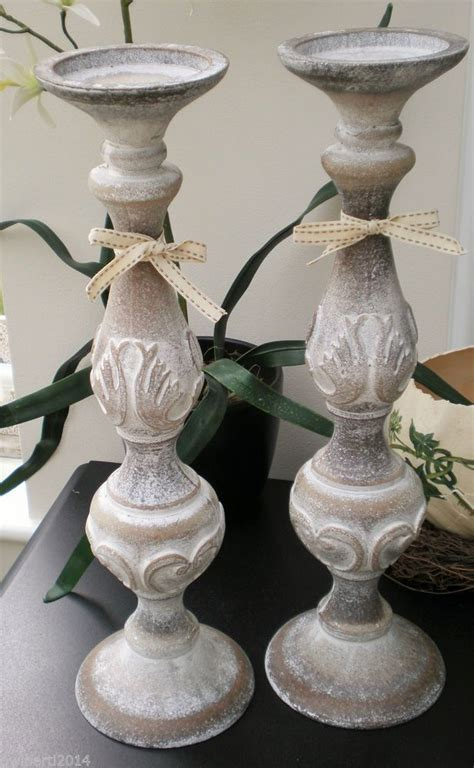 Last Pair Of Large Shabby Chic Wooden Carved White Washed Shabby Chic Candlesticks