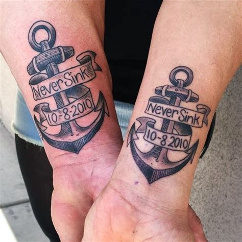 anchor tattoos for couples 27 best his and hers images on his and
