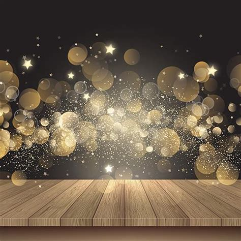 christmas background  wooden table  golden lights   vector art stock