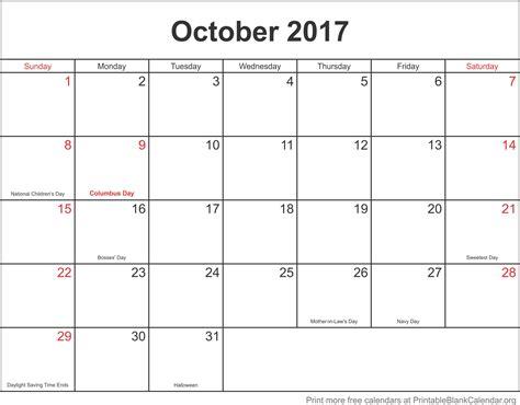 printable calendar month of october 2017 printable monthly calendar 2017 october