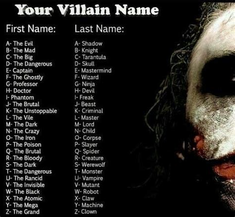 horror themes names villain name generator the dark monster sounds so scary