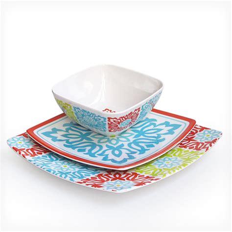 Dinner Set Nakami 20 Pcs Flower Blue waverly 12 melamine dinnerware sets