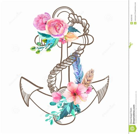 doodle anchor with watercolor flowers and feather stock