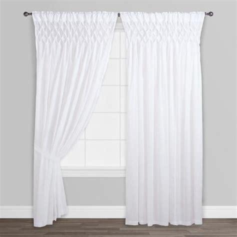 White Smocked Top Cotton Curtains Set Of 2 World Market