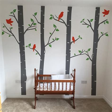 bespoke wall stickers nursery birch tree wall decals with birds wallboss wall