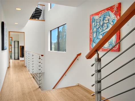 Banister Installation Stair Railing Ideas Staircase Modern With Colorful Artwork