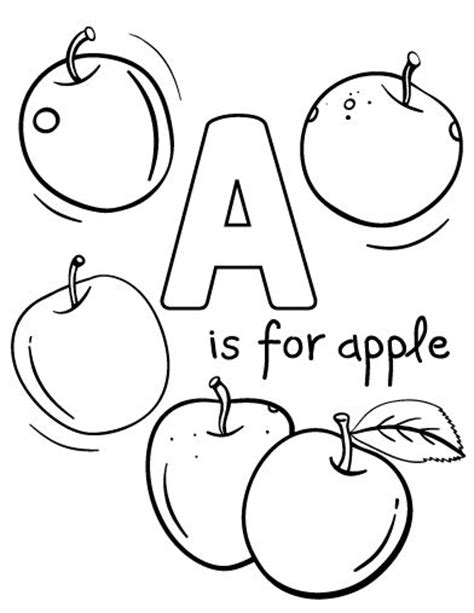 apple coloring pages pdf printable a is for apple coloring page free pdf download