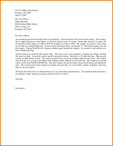 business letter sles for students business letter format for students sle business letter