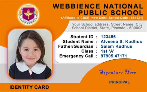 school id card templates school id card template