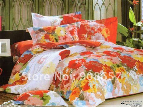 red flower comforter 2018 fleece fabric multicolor flower orange red floral