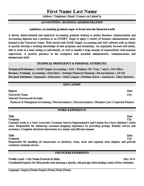Business Administration Resume by Accounting Business Administration Resume Template
