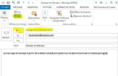 Office 365 Outlook Parts Envoyer En Tant Que Ou De La Part De Avec Office 365