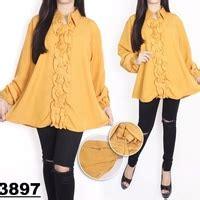 Blouse Wanita Big Size Cantik baju atasan blouse wanita lengan panjang modis ukuran