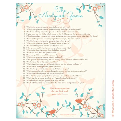 bridal shower the newlywed questions for groom instant downloadable bridal shower that you can