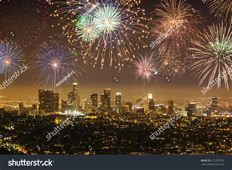new years in los angeles downtown los angeles cityscape fireworks stock