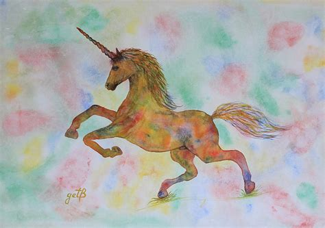 painting unicorn rainbow unicorn in my garden original watercolor painting