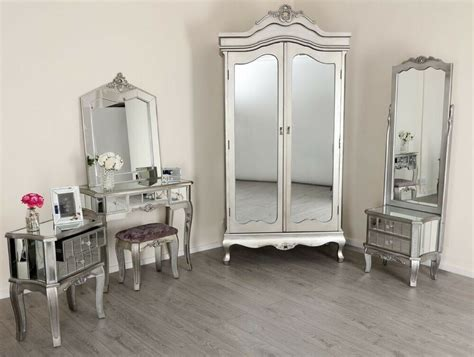 mirrored tv stand wardrobe dressing table french style mirror bedroom furniture ebay