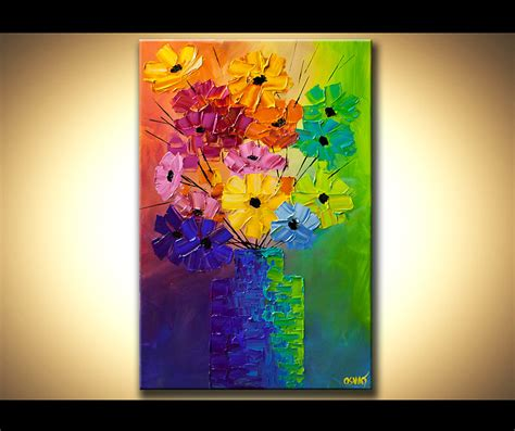 the modern flower painter original abstract acrylic painting colorful flowers modern palette by osnat modern art