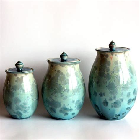 Soapstone Pottery Canister Set In Aqua Beautiful Soapstone And Pottery
