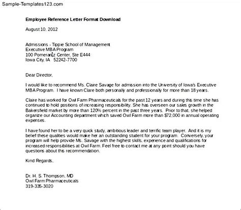 Reference Letter Templates For Employees Employee Reference Letter Format Sle Templates