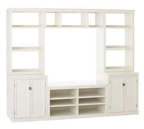 pottery barn media cabinet white logan open hutch small media suite with bridge antique