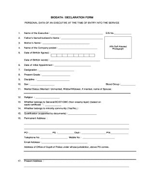 blank biography report form bio data diclaration fill online printable fillable