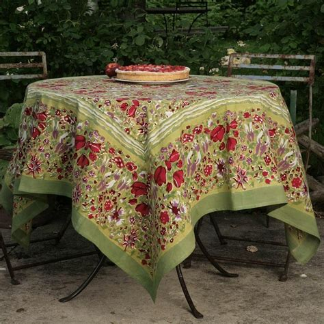 french tablecloth jardin red green green tablecloth
