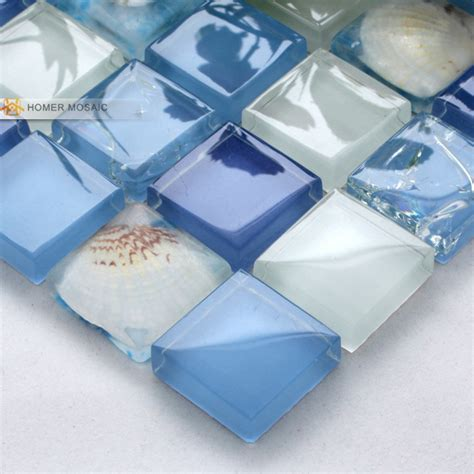 Bathroom Tile 12 X 12 Aliexpress Buy Blue Sea Shell Glass Mosaic Tiles
