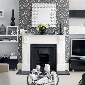 Living Room Wallpaper Ideas Grey Scion Cushion Fireplaces The Fireplace And Room Wallpaper