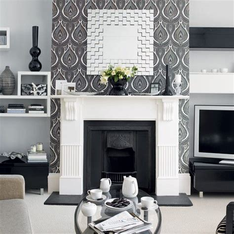Feature Wall Wallpaper Ideas Living Room by Scion Cushion Fireplaces The Fireplace And Room Wallpaper