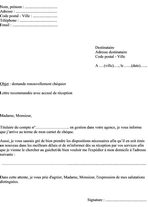 Modele De Lettre De Demande De Chequier mod 232 le de lettre 224 la banque pour commander un nouveau