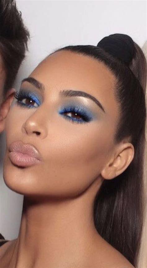 kim kardashian glam makeup kim kardashian in blue eyes shadow dramatic makeup