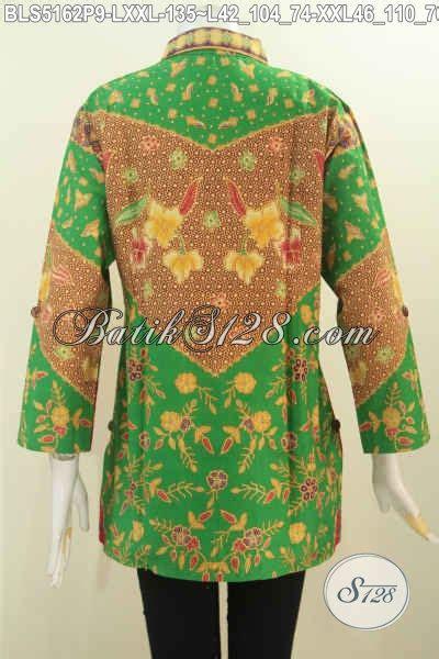 Blus Rok Batik Warna Kode Ba5281 blus batik printing dengan nuansa warna hijau baju batik