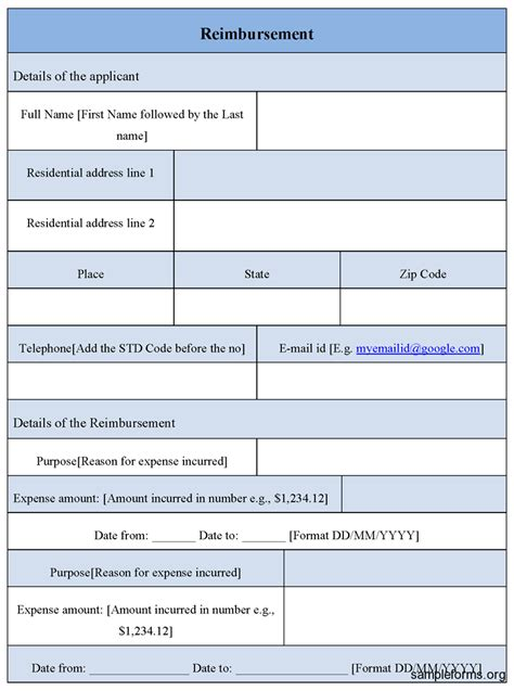 reimbursement form template sle reimbursement form