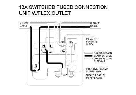 fused spur wiring diagram unswitched fused connection unit