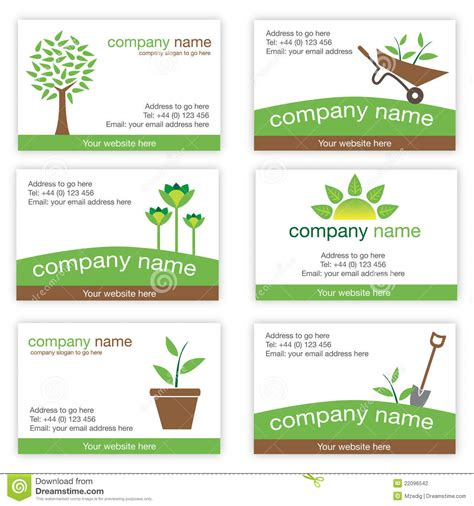 Visitenkarten Natur by Set Of Six Gardening And Nature Business Cards Stock
