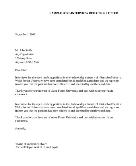 Employment Rejection Letter No Sle Rejection Letter 8 Exles In Word Pdf