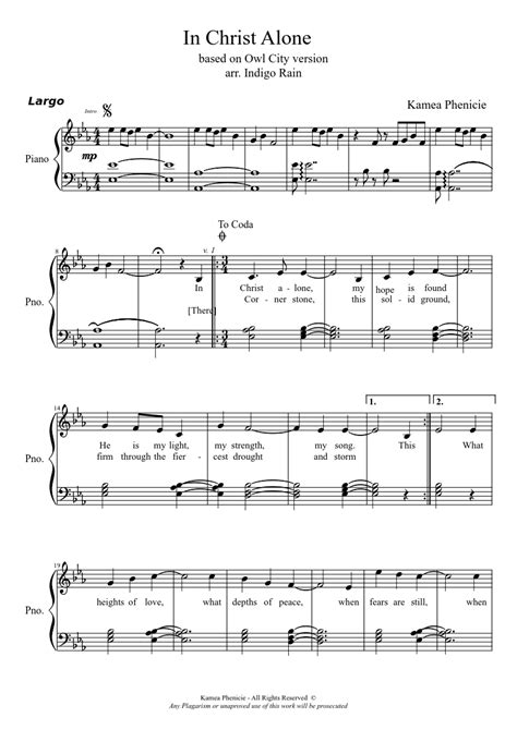 free printable sheet music for in christ alone in christ alone piano sheet music for piano and