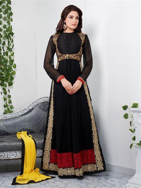 Anarkali Dressbaju Indiadress 76 usd 65 05 black georgette embroidered abaya style ankle length suit 39187 abaya style ankle