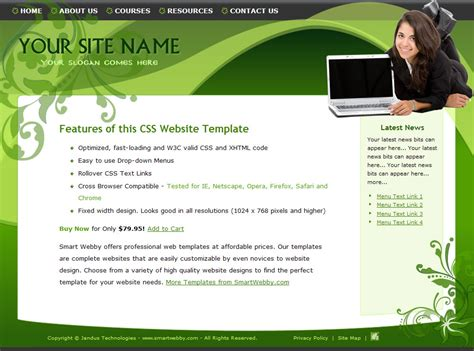 dreamweaver layout templates go green template