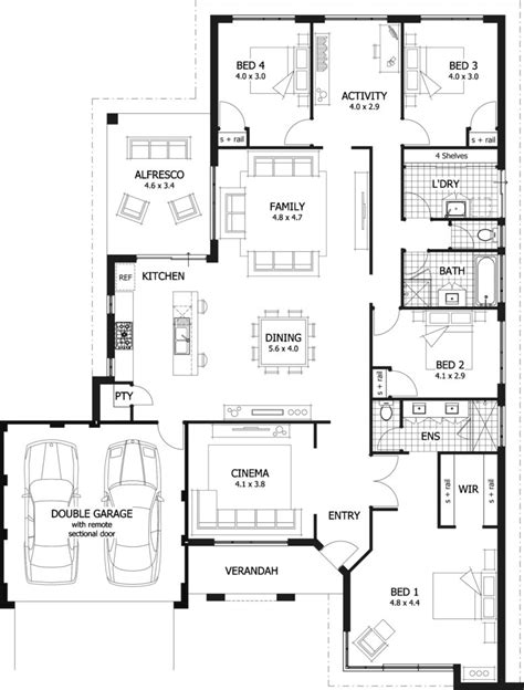 Four Bedroom Floor Plans Single Story by 4 Bedroom Single Story House Plans