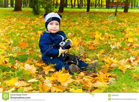 fallen leaves film funny child with a camera stock photo image of camera