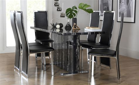 magnus black marble dining table with 6 celeste black